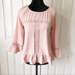A New Day Blush Pink Bell Sleeve Blouse Size XS
